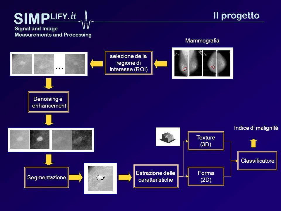 Mammografia selezione della regione di interesse (ROI) … Estrazione delle caratteristiche Forma (2D) Classificatore Indice di malignità Texture (3D) S