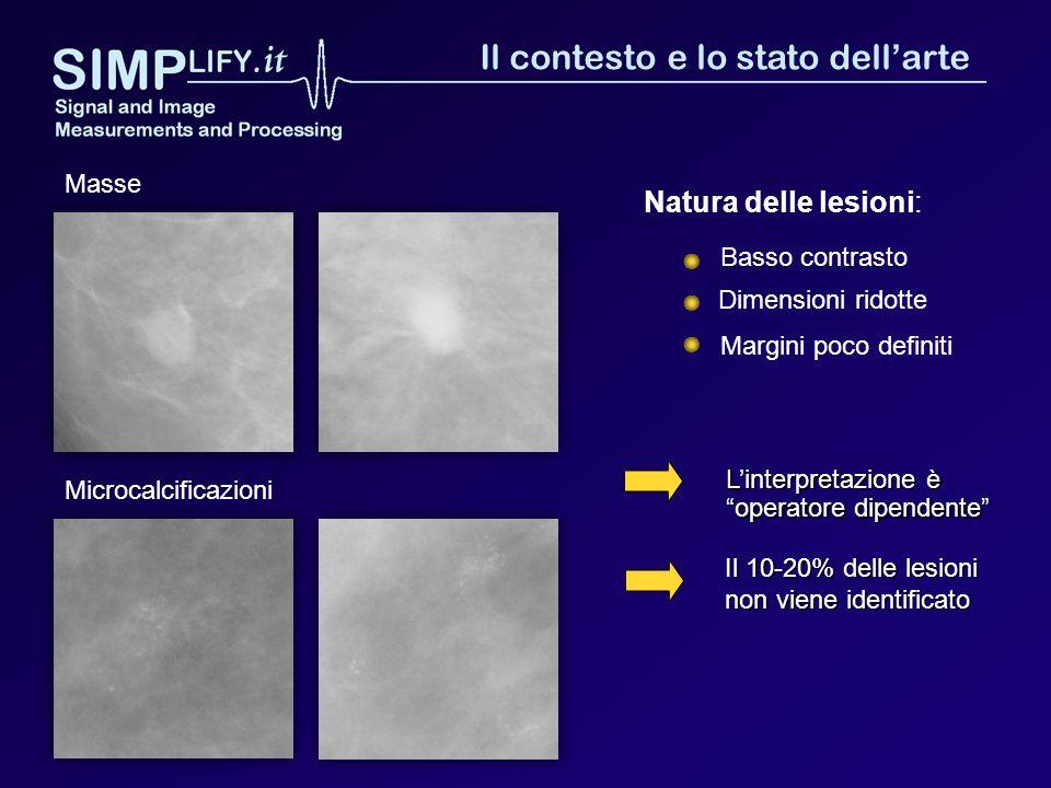 Linterpretazione è operatore dipendente Natura delle lesioni: Dimensioni ridotte Basso contrasto Margini poco definiti Microcalcificazioni Masse Il 10