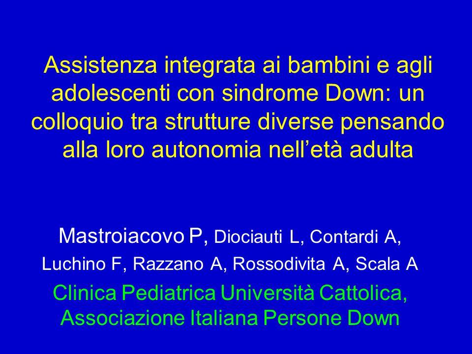 58° Congresso Nazionale della Società Italiana di Pediatria Montecatini, 29 Settembre 2002, San Michele Assistenza integrata al bambino con sindrome genetica e alla sua famiglia
