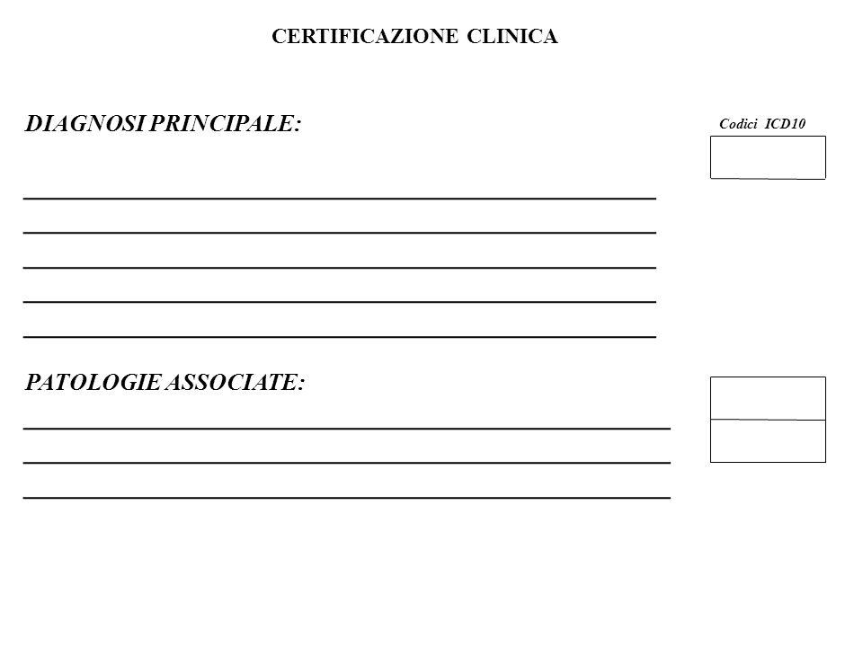 19 Flavio Fogarolo – USP di Vicenza CERTIFICAZIONE CLINICA Codici ICD10 DIAGNOSI PRINCIPALE: ____________________________________________ PATOLOGIE ASSOCIATE: _____________________________________________