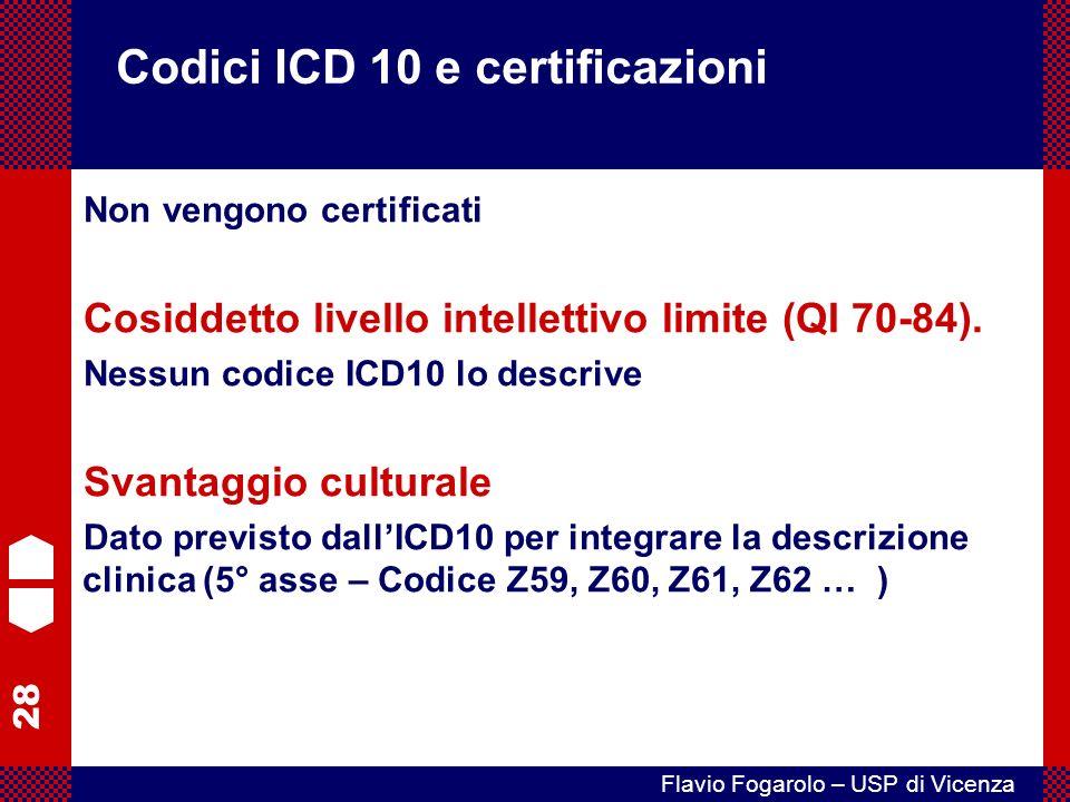 28 Flavio Fogarolo – USP di Vicenza Codici ICD 10 e certificazioni Non vengono certificati Cosiddetto livello intellettivo limite (QI 70-84).
