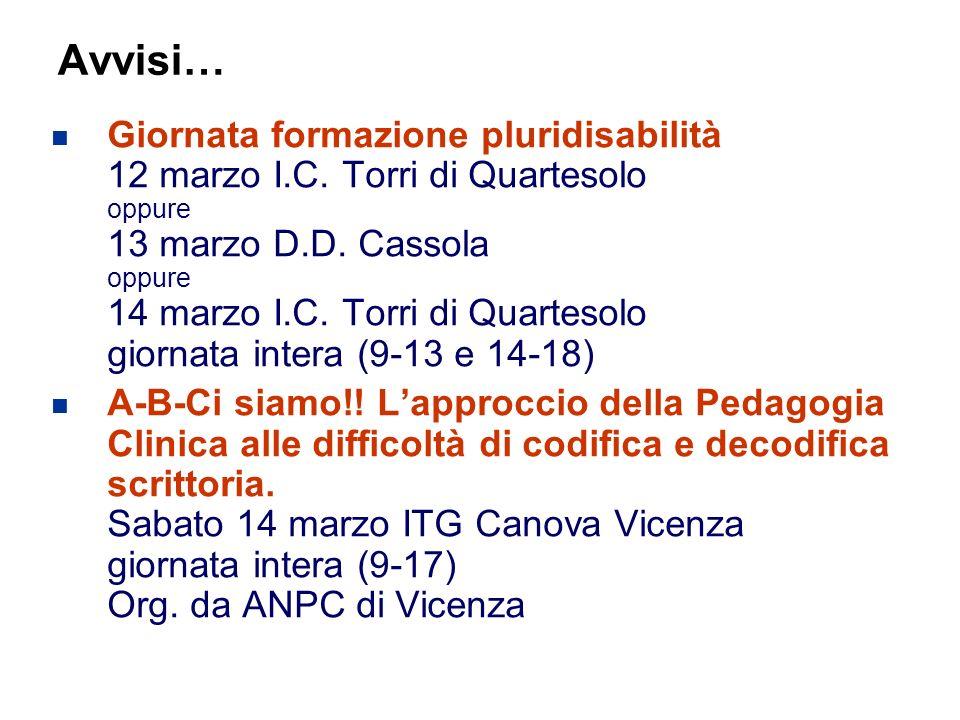 65 Flavio Fogarolo – USP di Vicenza Avvisi… Giornata formazione pluridisabilità 12 marzo I.C.