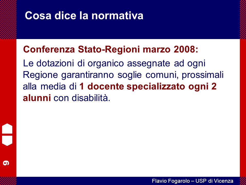 9 Flavio Fogarolo – USP di Vicenza Cosa dice la normativa Conferenza Stato-Regioni marzo 2008: Le dotazioni di organico assegnate ad ogni Regione garantiranno soglie comuni, prossimali alla media di 1 docente specializzato ogni 2 alunni con disabilità.