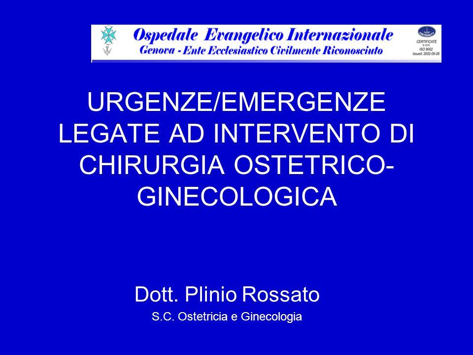 URGENZE/EMERGENZE LEGATE AD INTERVENTO DI CHIRURGIA OSTETRICO- GINECOLOGICA Dott. Plinio Rossato S.C. Ostetricia e Ginecologia