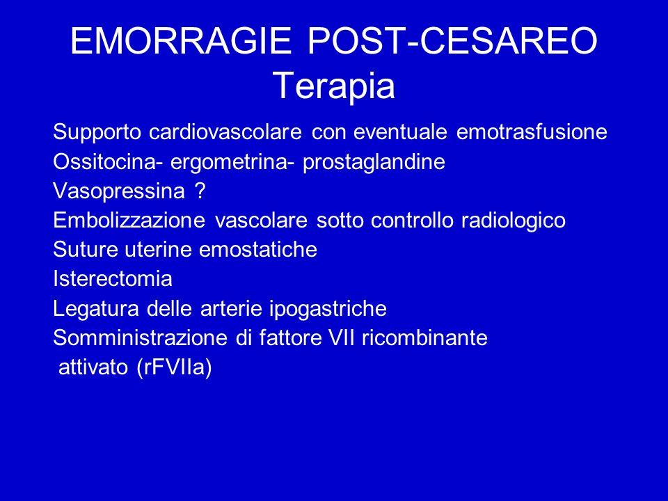 EMORRAGIE POST-CESAREO Terapia Supporto cardiovascolare con eventuale emotrasfusione Ossitocina- ergometrina- prostaglandine Vasopressina .
