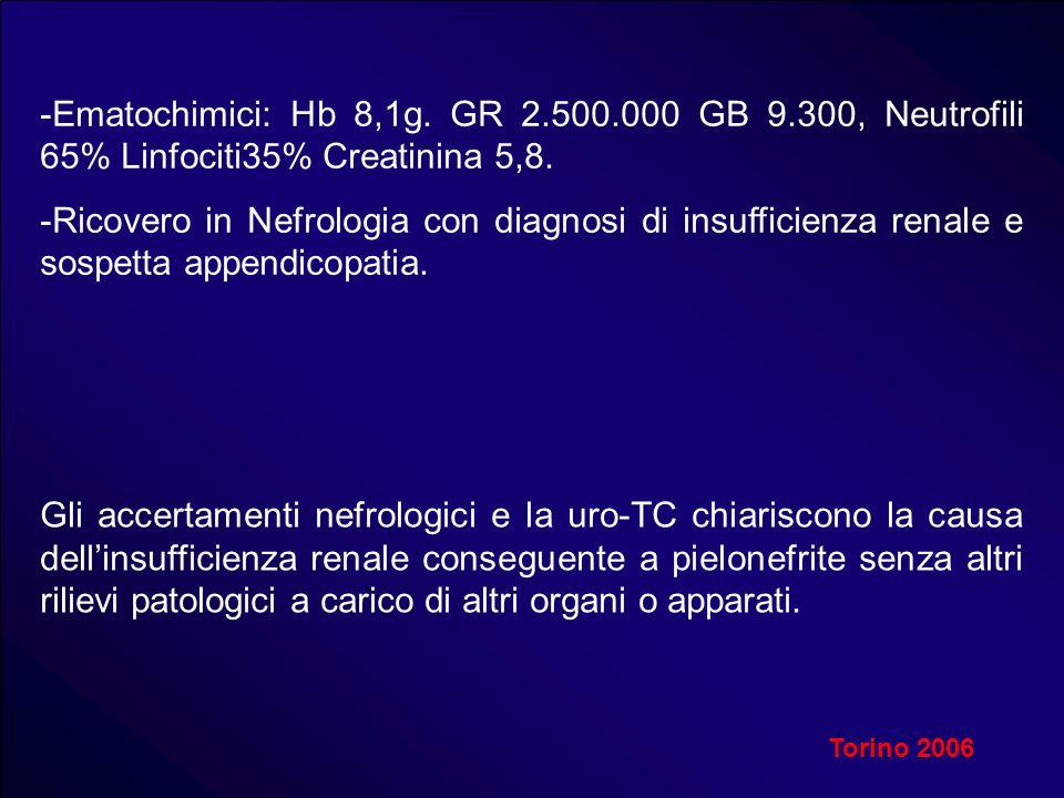 -Ematochimici: Hb 8,1g. GR 2.500.000 GB 9.300, Neutrofili 65% Linfociti35% Creatinina 5,8. -Ricovero in Nefrologia con diagnosi di insufficienza renal