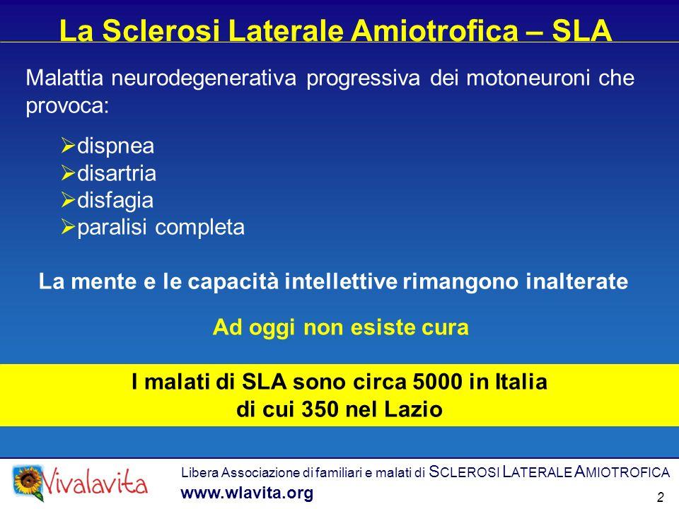 Libera Associazione di familiari e malati di S CLEROSI L ATERALE A MIOTROFICA www.wlavita.org La Sclerosi Laterale Amiotrofica – SLA Malattia neurodeg
