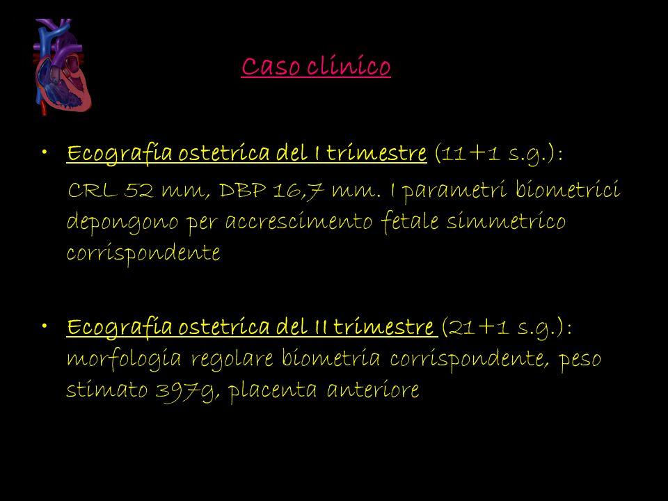 Ecografia ostetrica del I trimestre (11+1 s.g.): CRL 52 mm, DBP 16,7 mm. I parametri biometrici depongono per accrescimento fetale simmetrico corrispo