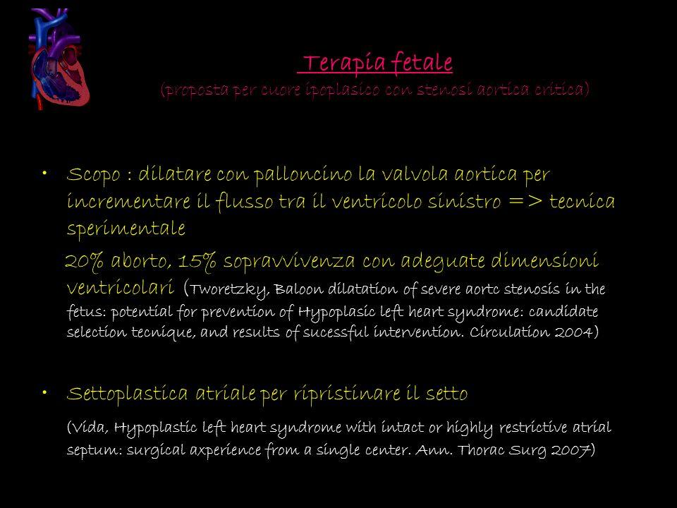 Terapia fetale (proposta per cuore ipoplasico con stenosi aortica critica) Scopo : dilatare con palloncino la valvola aortica per incrementare il flus