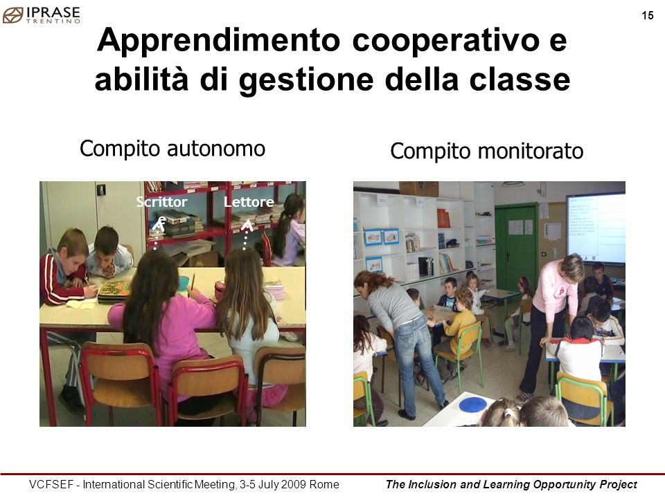 The Inclusion and Learning Opportunity Project 15 VCFSEF - International Scientific Meeting, 3-5 July 2009 Rome Apprendimento cooperativo e abilità di gestione della classe Scrittor e Lettore Compito autonomo Compito monitorato