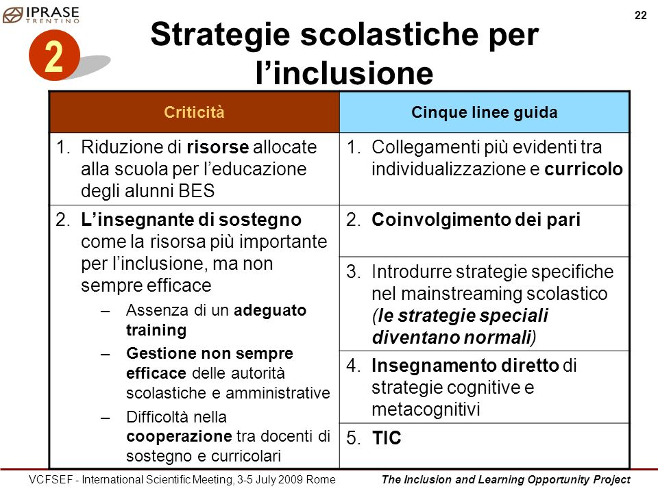 The Inclusion and Learning Opportunity Project 22 VCFSEF - International Scientific Meeting, 3-5 July 2009 Rome Strategie scolastiche per linclusione