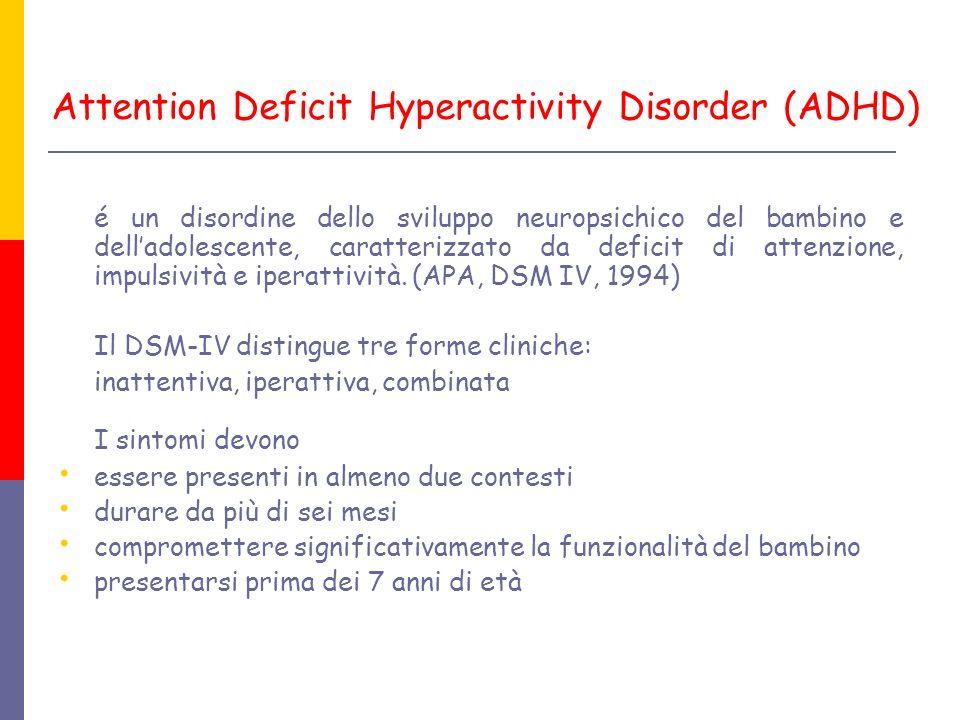 Attention Deficit Hyperactivity Disorder (ADHD) é un disordine dello sviluppo neuropsichico del bambino e delladolescente, caratterizzato da deficit d
