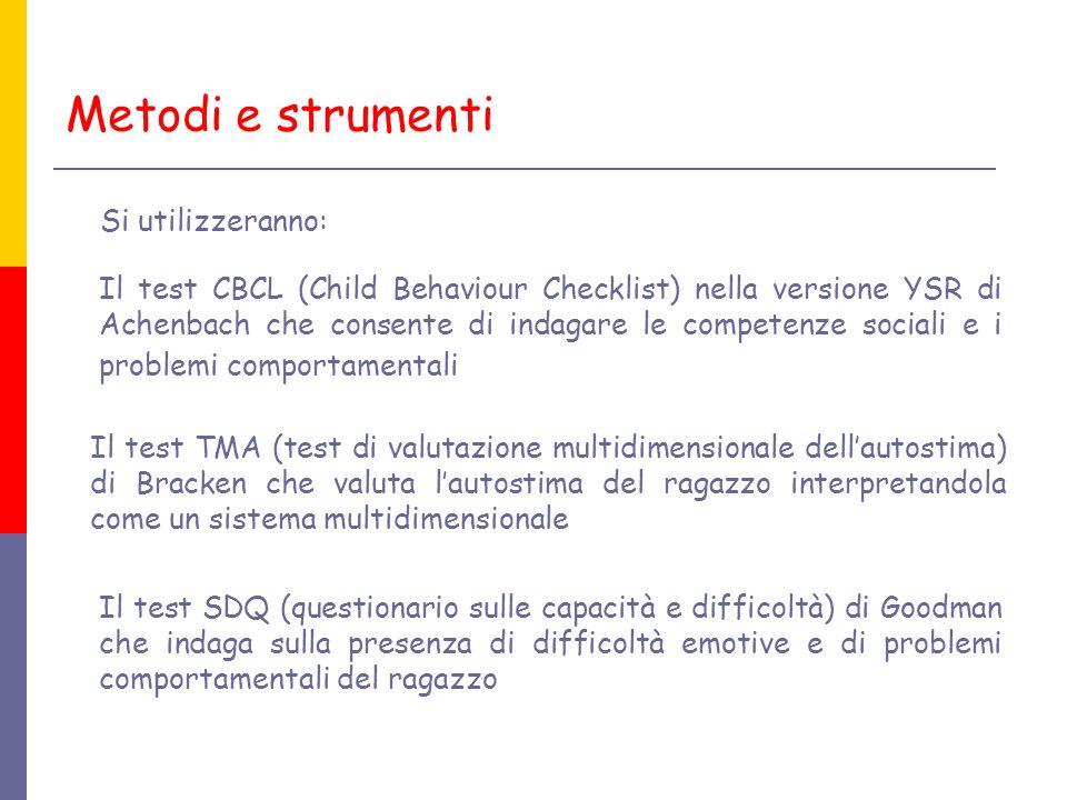 Il test SDQ (questionario sulle capacità e difficoltà) di Goodman che indaga sulla presenza di difficoltà emotive e di problemi comportamentali del ra