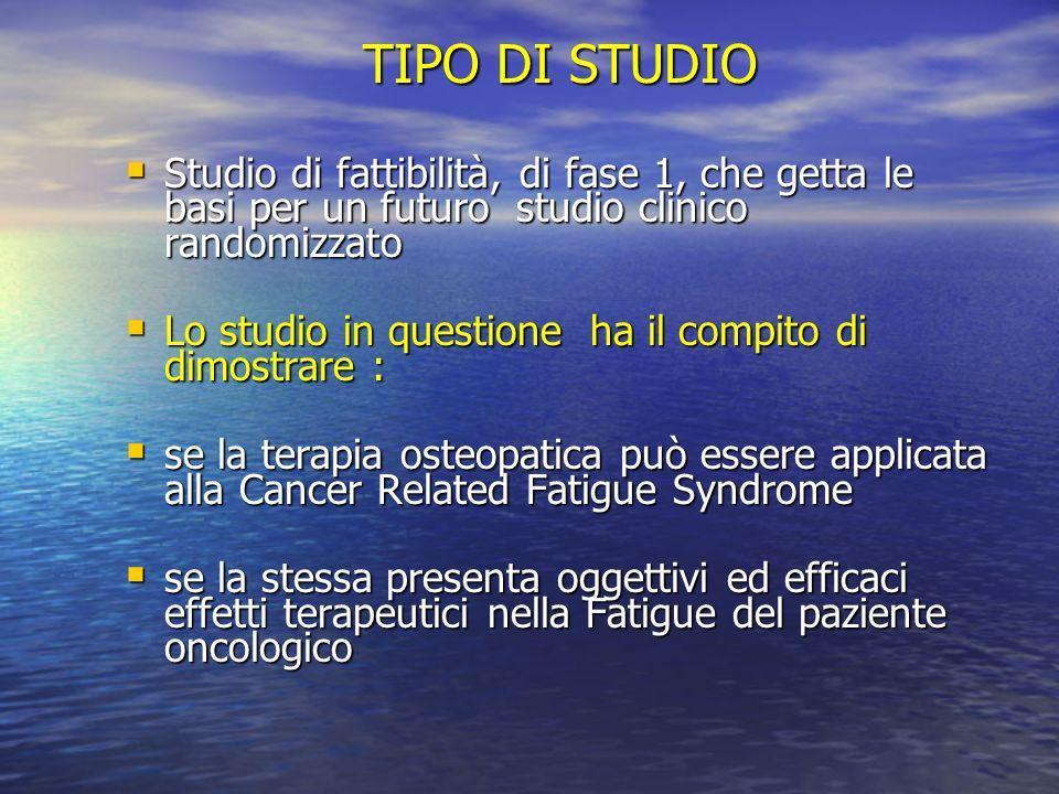 TIPO DI STUDIO Studio di fattibilità, di fase 1, che getta le basi per un futuro studio clinico randomizzato Studio di fattibilità, di fase 1, che get