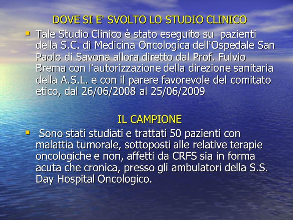 DOVE SI E SVOLTO LO STUDIO CLINICO Tale Studio Clinico è stato eseguito su pazienti della S.C. di Medicina Oncologica dellOspedale San Paolo di Savona
