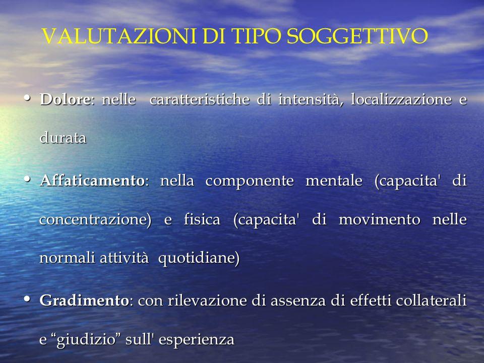 VALUTAZIONI DI TIPO SOGGETTIVO Dolore : nelle caratteristiche di intensità, localizzazione e durata Dolore : nelle caratteristiche di intensità, local