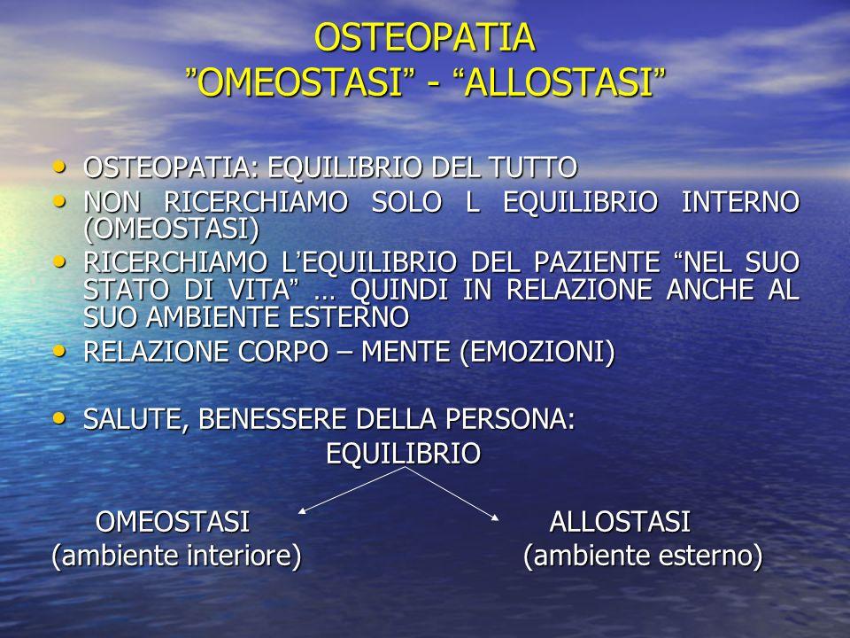 OSTEOPATIA OMEOSTASI - ALLOSTASIOMEOSTASI - ALLOSTASI OSTEOPATIA: EQUILIBRIO DEL TUTTO OSTEOPATIA: EQUILIBRIO DEL TUTTO NON RICERCHIAMO SOLO L EQUILIB