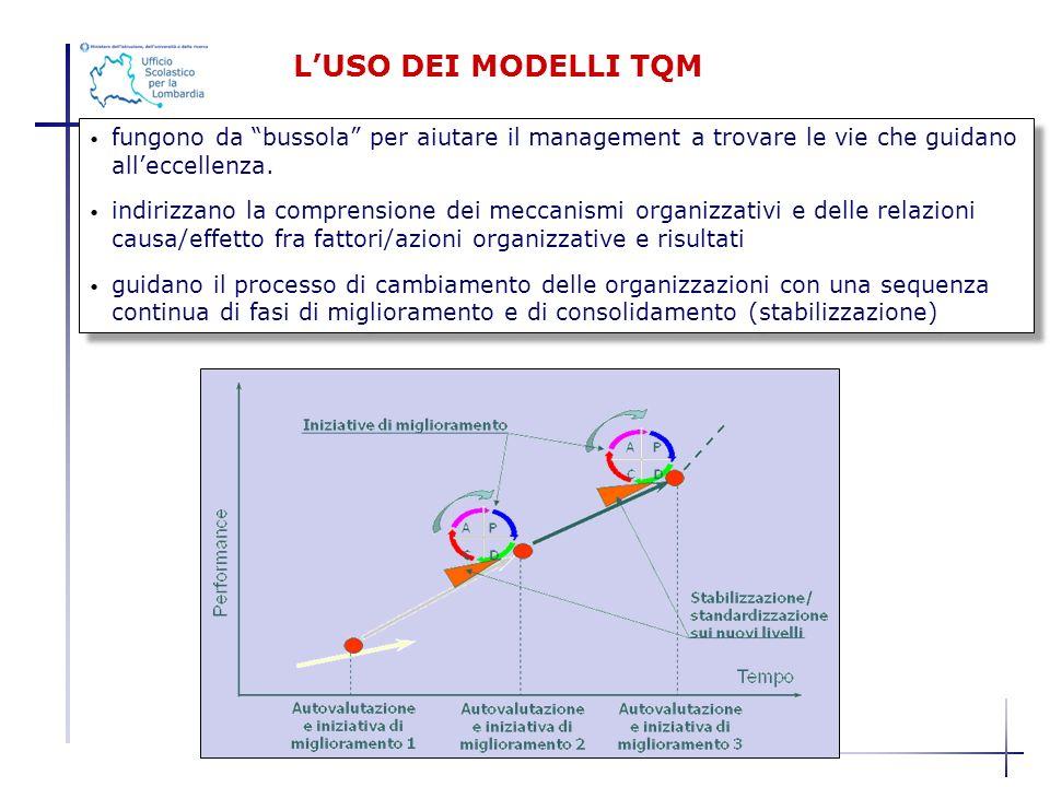LUSO DEI MODELLI TQM fungono da bussola per aiutare il management a trovare le vie che guidano alleccellenza. indirizzano la comprensione dei meccanis