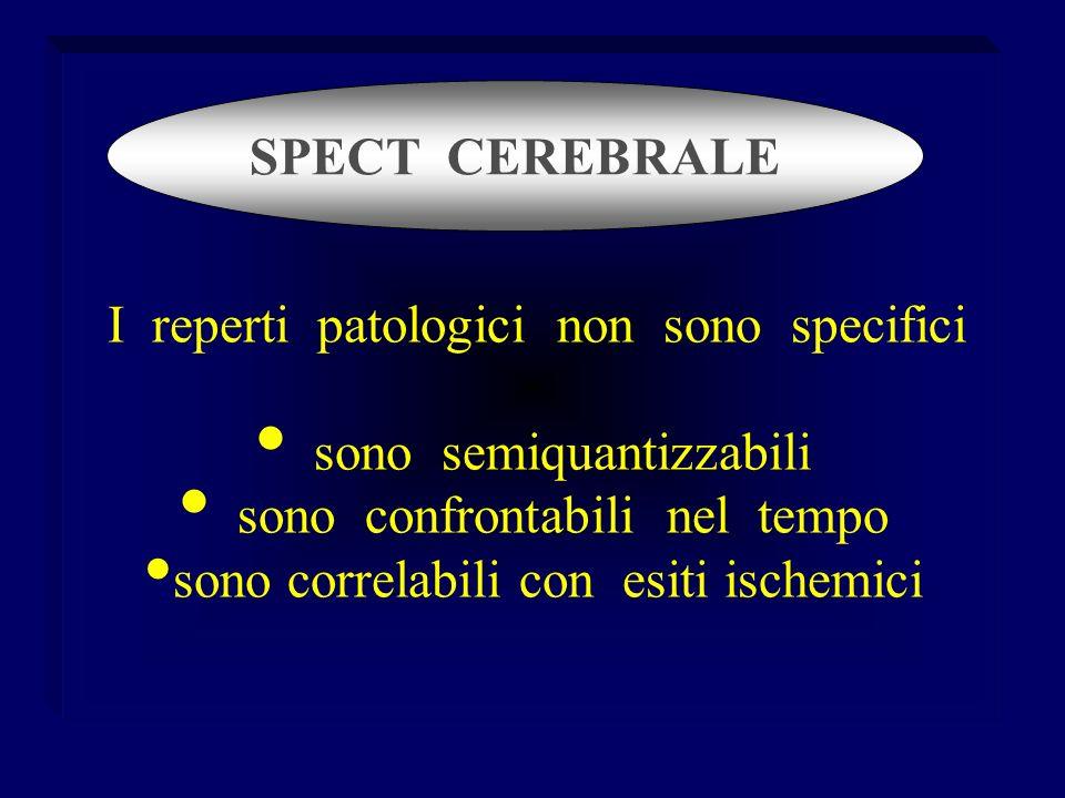 I reperti patologici non sono specifici sono semiquantizzabili sono confrontabili nel tempo sono correlabili con esiti ischemici SPECT CEREBRALE