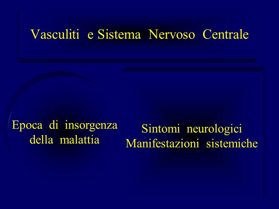 Vasculiti e Sistema Nervoso Centrale Epoca di insorgenza della malattia Sintomi neurologici Manifestazioni sistemiche