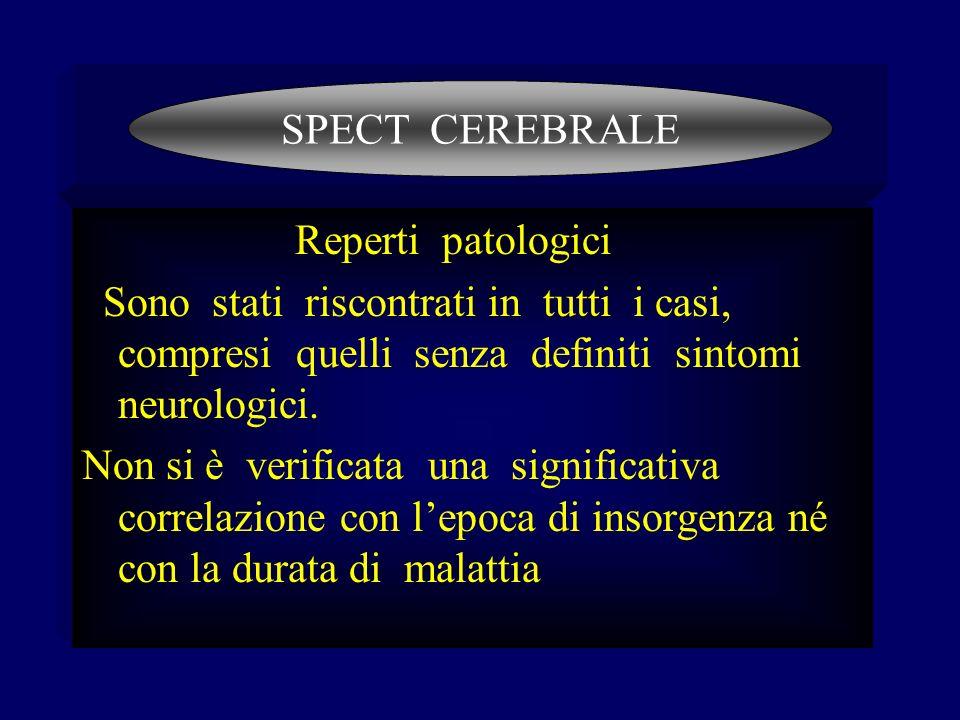 Reperti patologici Sono stati riscontrati in tutti i casi, compresi quelli senza definiti sintomi neurologici. Non si è verificata una significativa c