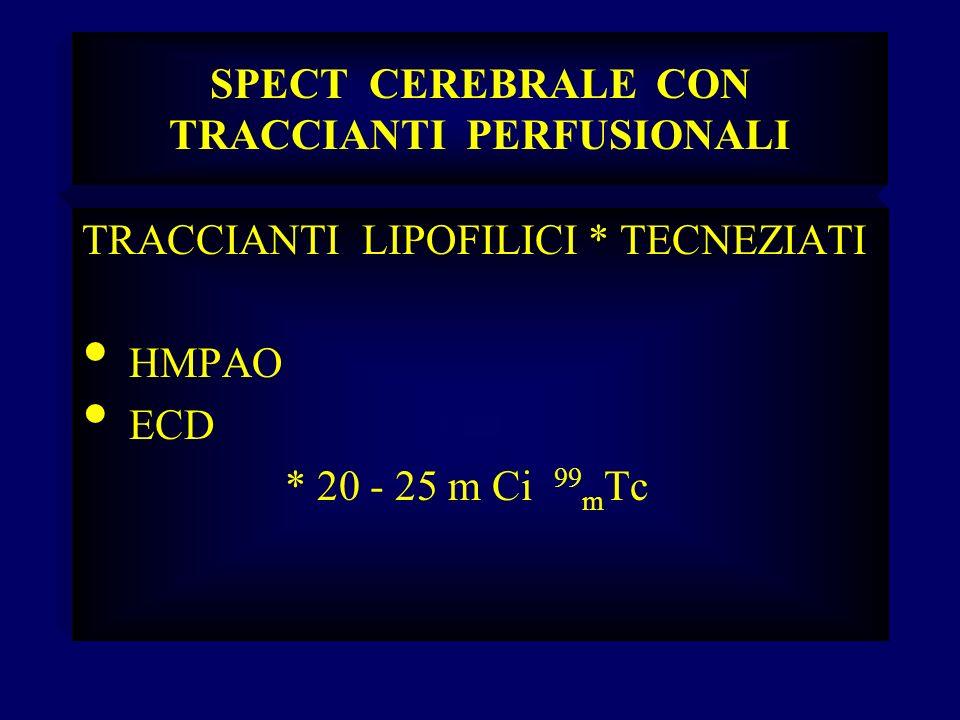SPECT CEREBRALE CON TRACCIANTI PERFUSIONALI TRACCIANTI LIPOFILICI * TECNEZIATI HMPAO ECD * 20 - 25 m Ci 99 m Tc