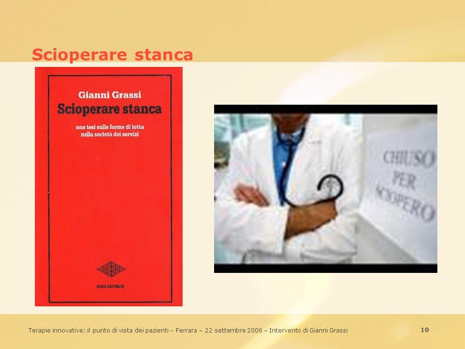 10 Terapie innovative: il punto di vista dei pazienti – Ferrara – 22 settembre 2006 – Intervento di Gianni Grassi Scioperare stanca