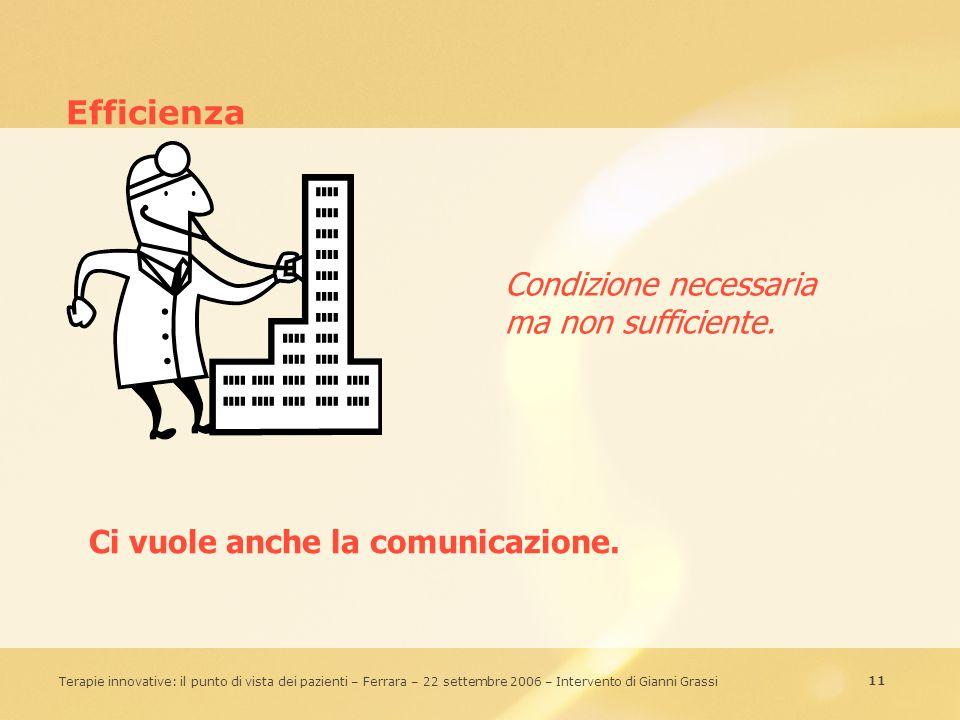11 Terapie innovative: il punto di vista dei pazienti – Ferrara – 22 settembre 2006 – Intervento di Gianni Grassi Efficienza Ci vuole anche la comunic