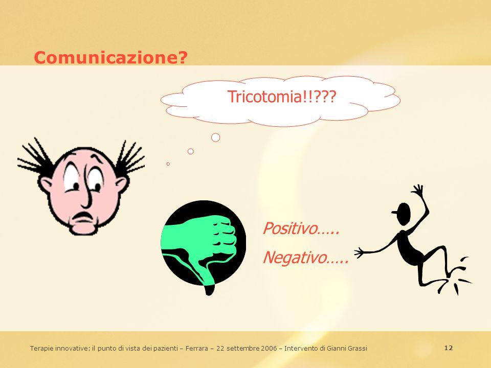 12 Terapie innovative: il punto di vista dei pazienti – Ferrara – 22 settembre 2006 – Intervento di Gianni Grassi Comunicazione? Tricotomia!!??? Posit
