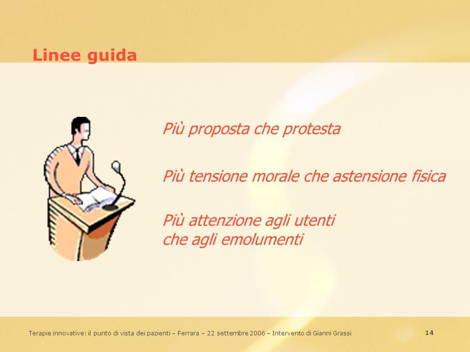 14 Terapie innovative: il punto di vista dei pazienti – Ferrara – 22 settembre 2006 – Intervento di Gianni Grassi Linee guida Più proposta che protest
