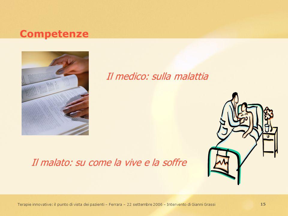 15 Terapie innovative: il punto di vista dei pazienti – Ferrara – 22 settembre 2006 – Intervento di Gianni Grassi Competenze Il medico: sulla malattia