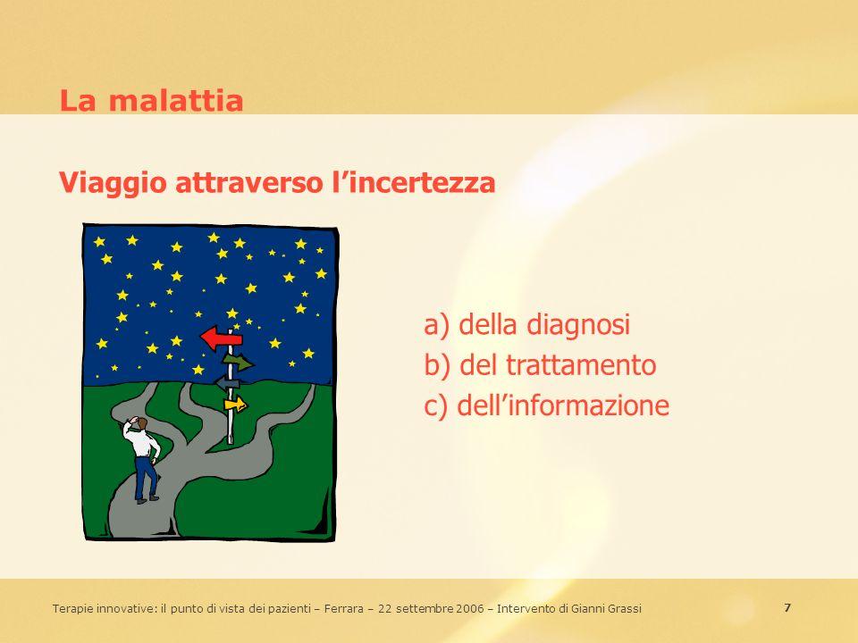 7 Terapie innovative: il punto di vista dei pazienti – Ferrara – 22 settembre 2006 – Intervento di Gianni Grassi La malattia a) della diagnosi b) del