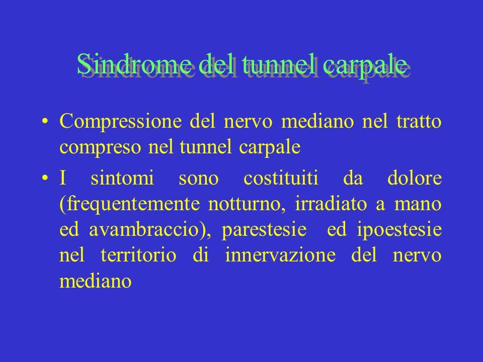 Sindrome del tunnel carpale Compressione del nervo mediano nel tratto compreso nel tunnel carpale I sintomi sono costituiti da dolore (frequentemente