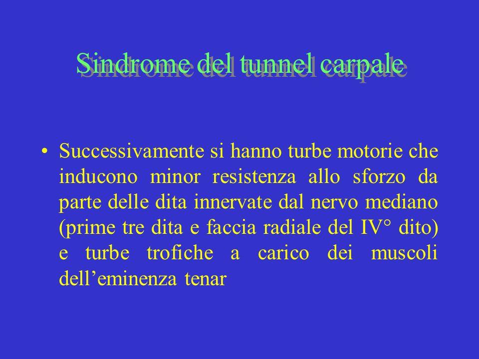 Sindrome del tunnel carpale Successivamente si hanno turbe motorie che inducono minor resistenza allo sforzo da parte delle dita innervate dal nervo m