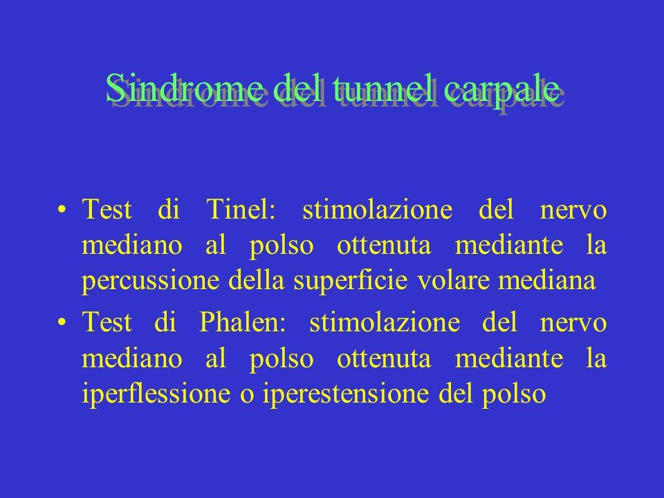 Test di Tinel: stimolazione del nervo mediano al polso ottenuta mediante la percussione della superficie volare mediana Test di Phalen: stimolazione d