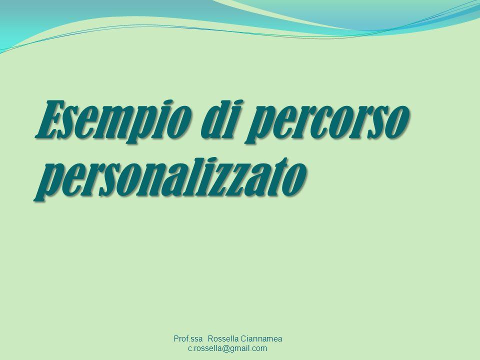 Esempio di percorso personalizzato Prof.ssa Rossella Ciannamea c.rossella@gmail.com