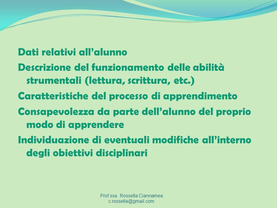Dati relativi allalunno Descrizione del funzionamento delle abilità strumentali (lettura, scrittura, etc.) Caratteristiche del processo di apprendimen