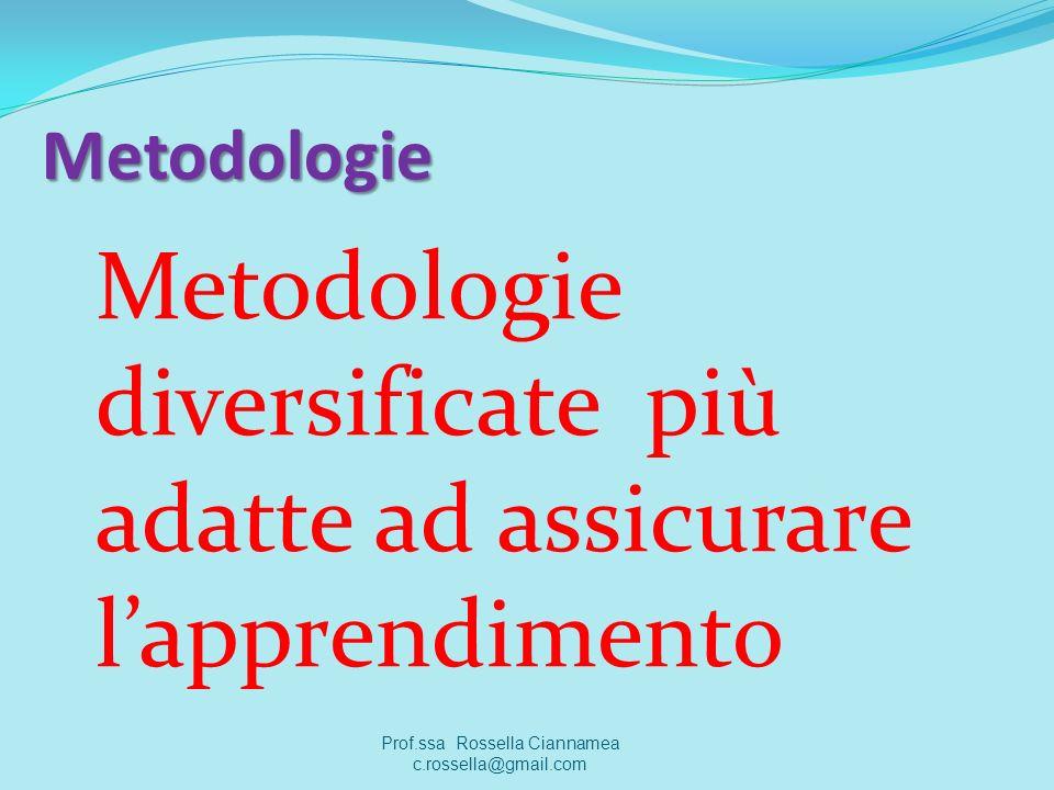 Metodologie Metodologie diversificate più adatte ad assicurare lapprendimento Prof.ssa Rossella Ciannamea c.rossella@gmail.com