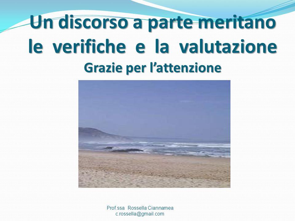 Un discorso a parte meritano le verifiche e la valutazione Grazie per lattenzione Prof.ssa Rossella Ciannamea c.rossella@gmail.com