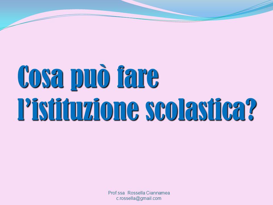 Cosa può fare listituzione scolastica? Prof.ssa Rossella Ciannamea c.rossella@gmail.com