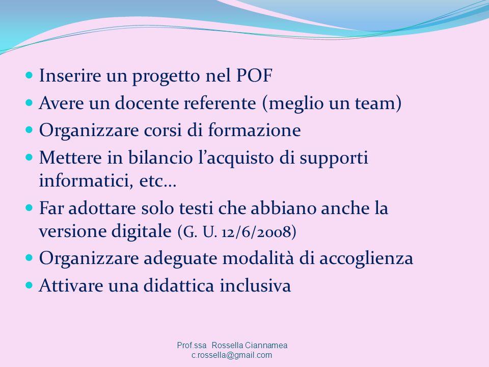 Inserire un progetto nel POF Avere un docente referente (meglio un team) Organizzare corsi di formazione Mettere in bilancio lacquisto di supporti inf