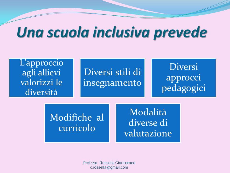 Una scuola inclusiva prevede Lapproccio agli allievi valorizzi le diversità Diversi stili di insegnamento Diversi approcci pedagogici Modifiche al cur