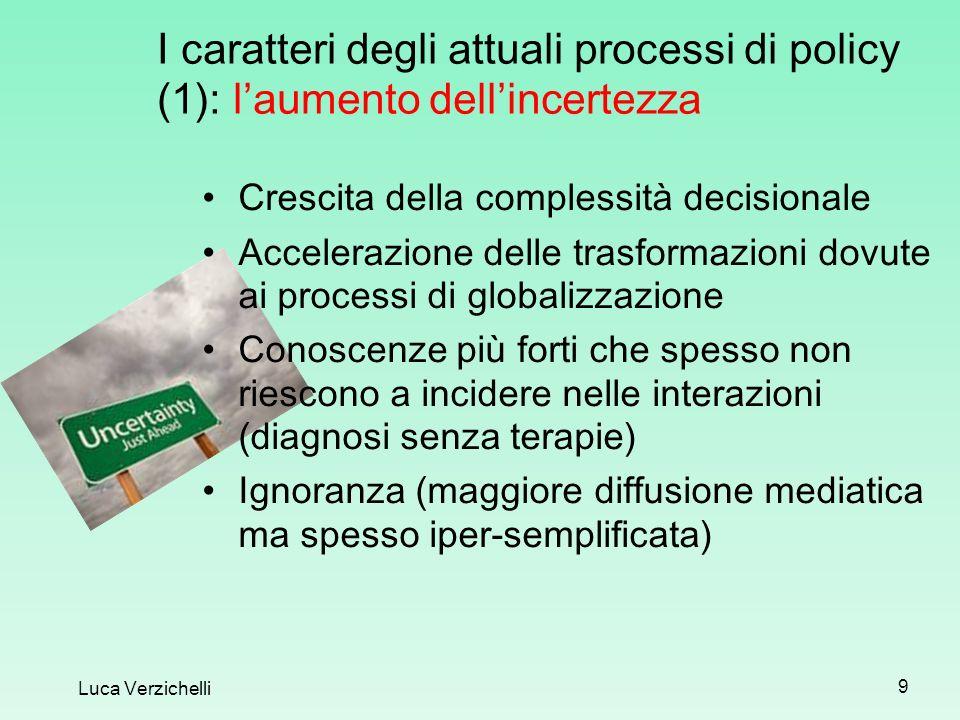 I caratteri degli attuali processi di policy (1): laumento dellincertezza Luca Verzichelli 9 Crescita della complessità decisionale Accelerazione dell