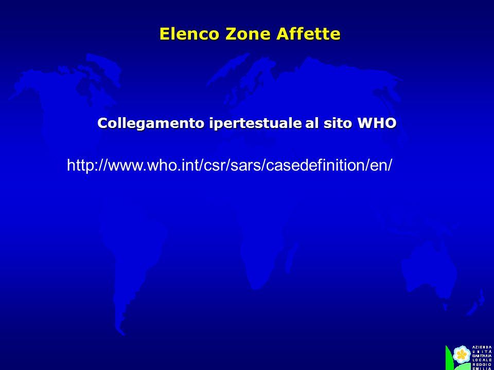 Elenco Zone Affette Elenco Zone Affette Collegamento ipertestuale al sito WHO http://www.who.int/csr/sars/casedefinition/en/