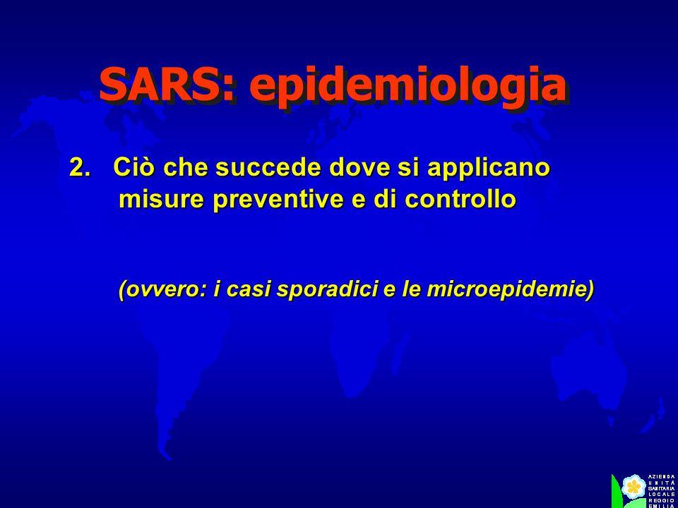 SARS: epidemiologia 2. Ciò che succede dove si applicano misure preventive e di controllo (ovvero: i casi sporadici e le microepidemie)