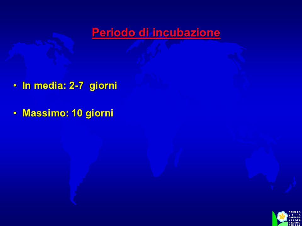 Periodo di incubazione In media: 2-7 giorni In media: 2-7 giorni Massimo: 10 giorni Massimo: 10 giorni