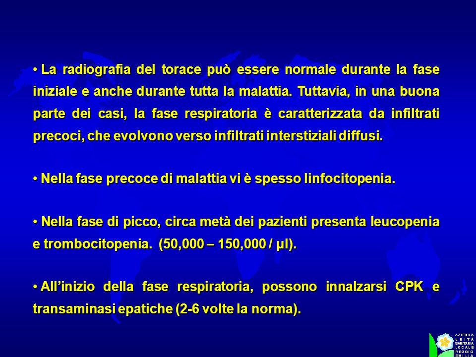 La radiografia del torace può essere normale durante la fase iniziale e anche durante tutta la malattia. Tuttavia, in una buona parte dei casi, la fas