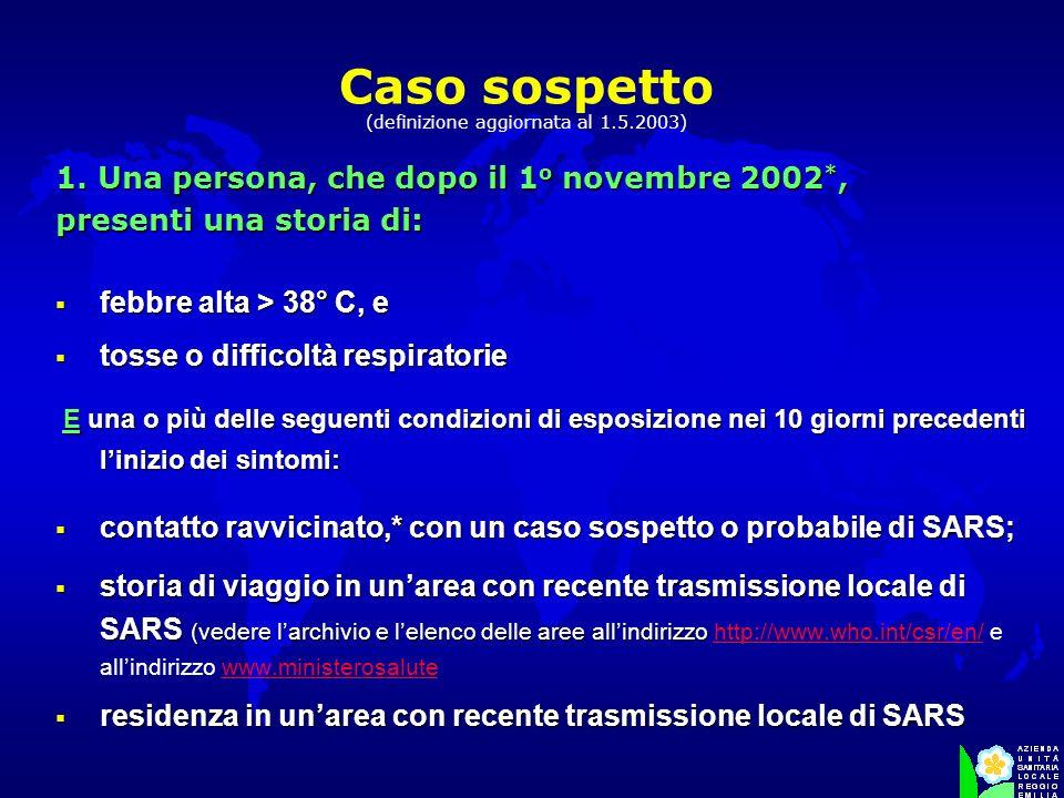 Caso sospetto (definizione aggiornata al 1.5.2003) febbre alta > 38° C, e febbre alta > 38° C, e tosse o difficoltà respiratorie tosse o difficoltà re