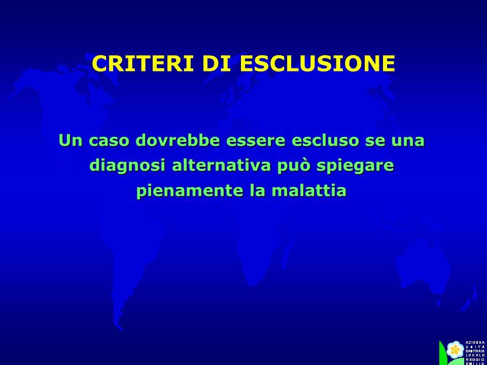 CRITERI DI ESCLUSIONE Un caso dovrebbe essere escluso se una diagnosi alternativa può spiegare pienamente la malattia