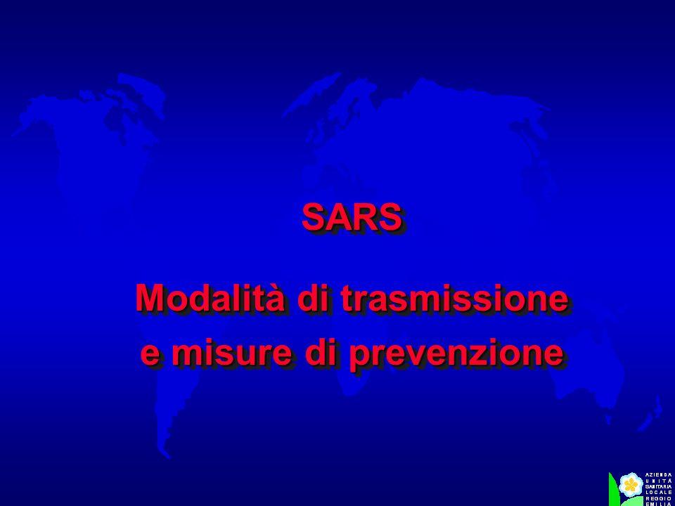 SARS Modalità di trasmissione e misure di prevenzione SARS